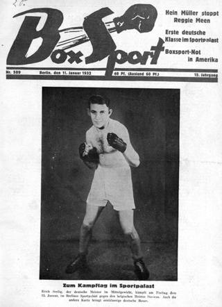 In January 1932 the Box-Sport magazine published a front-page report about an upcoming match of Erich's entitled Ete, Seelig. He was a celebrated sports star in the German press up until 1933.