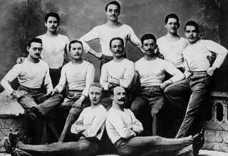 Members of the German Gymnast Squad before their departure for Athens in 1896, from left to right: 1st row: F. Manteuffel, C. Schuhmann, 2nd row: R. Röstel, C. Böcker, H. Weingärtner, A. Flatow, R. Gadebusch, 3rd row: G.F. Flatow, F. Hofmann, G. Schuft