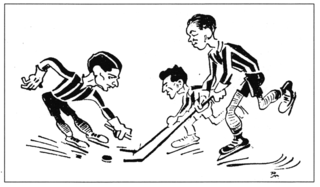 This contemporary caricature shows (from left to right) Rudi Ball, Austrian Herbert Brück and Gustav Haenecke, the best German ice hockey players of the 1920s and 1930s.