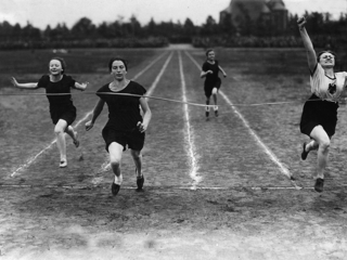 As a multi-talented athlete she achieved tremendous success in track and field; she is pictured here in a preliminary race.