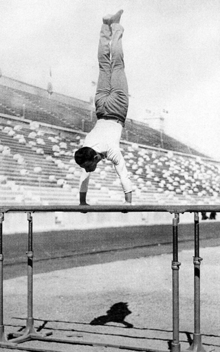 Alfred Flatow on the parallel bars during the first Olympic Games of the Modern era in Athens 1896.
