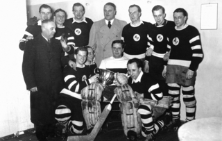Rudi Ball (standing far right) after capturing the German championship with the BSC in 1937.