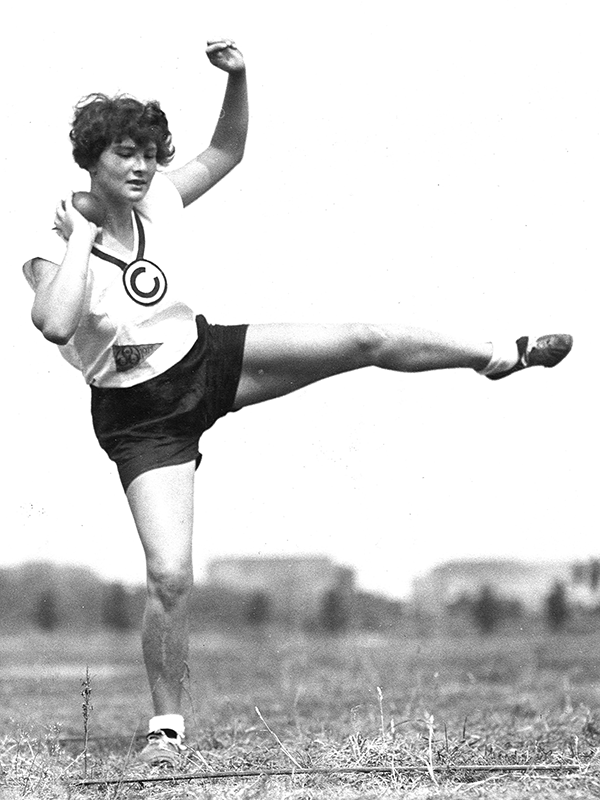 In 1928 Martha Jacob began training with SC Charlottenburg, where she gained great success. Here she is wearing a jersey and representing her club, which put a ban on Jewish members beginning in April of 1933.